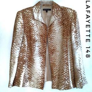 Lafayette 148 Animal Print Blazer Linen Silk Sz 1